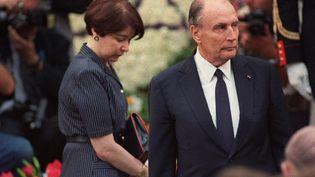 François Mitterand, président de la République, lors du cinquantième anniversaire de la rafle du Vél d'hiv, le 16 juillet 1992 à Paris. (GERARD FOUET / AFP)