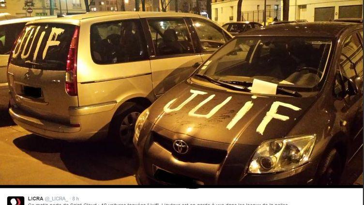 Capture d'écran d'un tweet de la Licra après la dégradation de voitures dans le 16e arrondissement de Paris, le 9 février 2015. (LICRA / TWITTER)