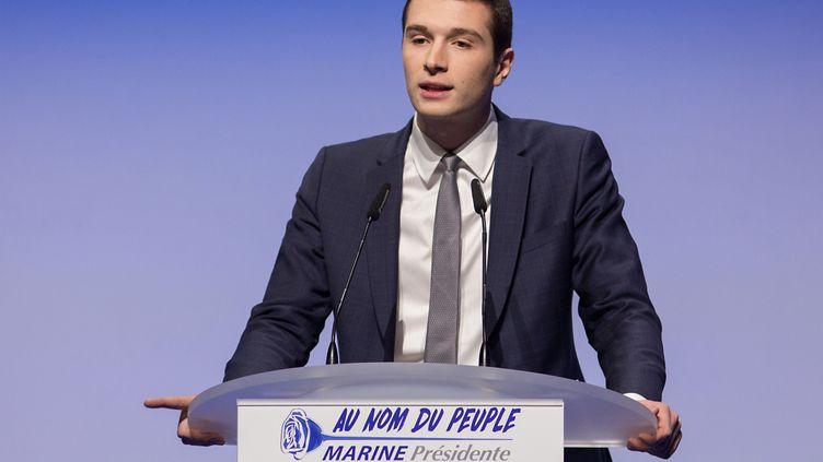 Le porte-parole du Rassemblement national, Jordan Bardella, lors d'un meeting à Lille (Nord), le 2 avril 2017. (KRISTINA AFANASYEVA / SPUTNIK / AFP)