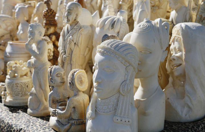 Des sculptures en ivoire importées illégalement aux Etats-Unis, exposées avant leur destruction, à Denver, dans le Colorado, le 14 novembre 2013. (RICK WILKING / REUTERS )