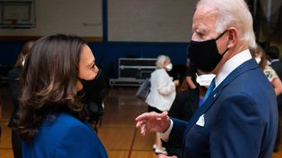 Le candidat démocrate à la Maison Blanche, Joe Biden, annonce que la sénatrice Kamala Harris est candidate à la vice-présidence des Etats-Unis à Wilmington (Caroline du Nord), le 12 août 2020. (EYEPRESS NEWS / AFP)