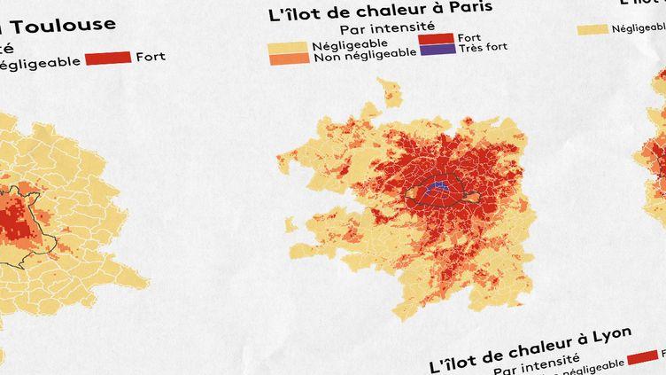 Franceinfo vous propose de découvrir la carte de l'îlot de chaleur dans17villes choisies parmi les 42aires urbaines étudiées par les chercheurs. (ELLEN LOZON / BRICE LE BORGNE / MATHIEU LEHOT / FRANCEINFO)