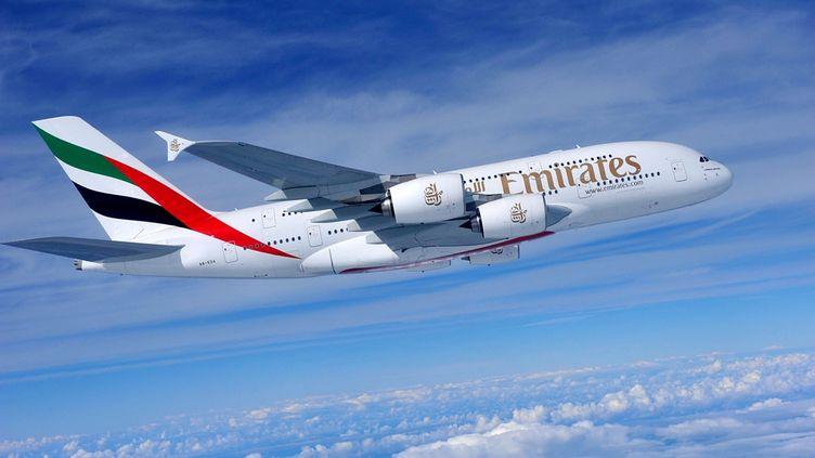 Un Airbus A380 de la compagnie Emirates Airline, dans les airs. (EYEPRESS NEWS / AFP)