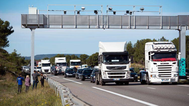 Des chauffeurs de poids lourds manifestent contre l'écotaxe, sur l'A55, dans les Bouches-du-Rhône, le 9 novembre 2013. (BERTRAND LANGLOIS / AFP)