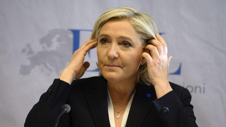 Après l'élection de Donald Trump, des trollssoutiennent Marine Le Pen. Ici, le 21 janvier 2017 à Koblenz. (ROBERTO PFEIL / AFP)
