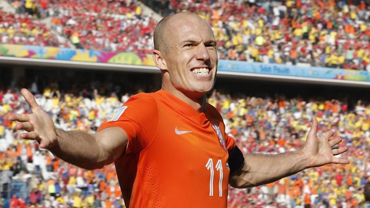 (Arjen Robben célèbre sont but face au Chili © Maxppp)