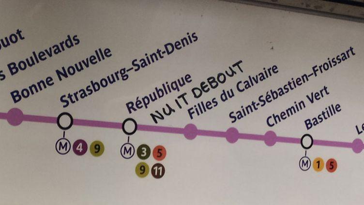 """(La station fictive de """"Nuit Debout"""" dans le métro parisien © RF)"""