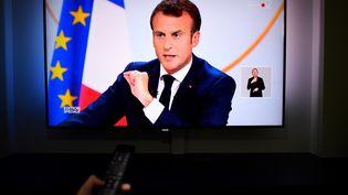 Emmanuel Macron, jeudi 25 avril 2019 lors de sa conférence de presse organisée à l'Elysée. (DAMIEN MEYER / AFP)