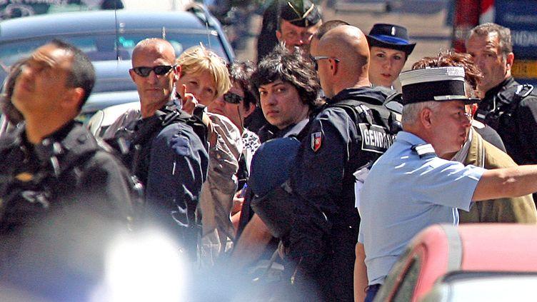 Stéphane Moitoiret pendant une reconstitution organisée à Lagnieu (Ain) en juin 2009. (MOUILLAUD RICHARD / MAXPPP)