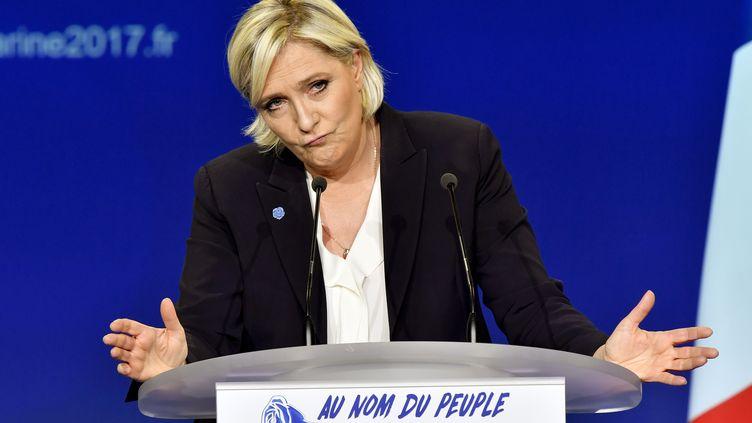 Marine Le Pen en meeting à Bordeaux, le 2 avril 2017 (GEORGES GOBET / AFP)