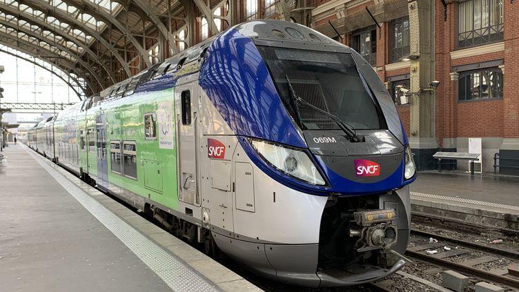 Un train régional SNCF en gare de Lille-Flandres. (ERIC TURPIN / FRANCE-BLEU NORD)