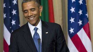 Le président des Etats-Unis Barack Obama, le 29 juin 2013 à Pretoria (Afrique du Sud), lors d'une conférence de presse avec son homologue sud-africain Jacob Zuma. (SAUL LOEB / AFP)