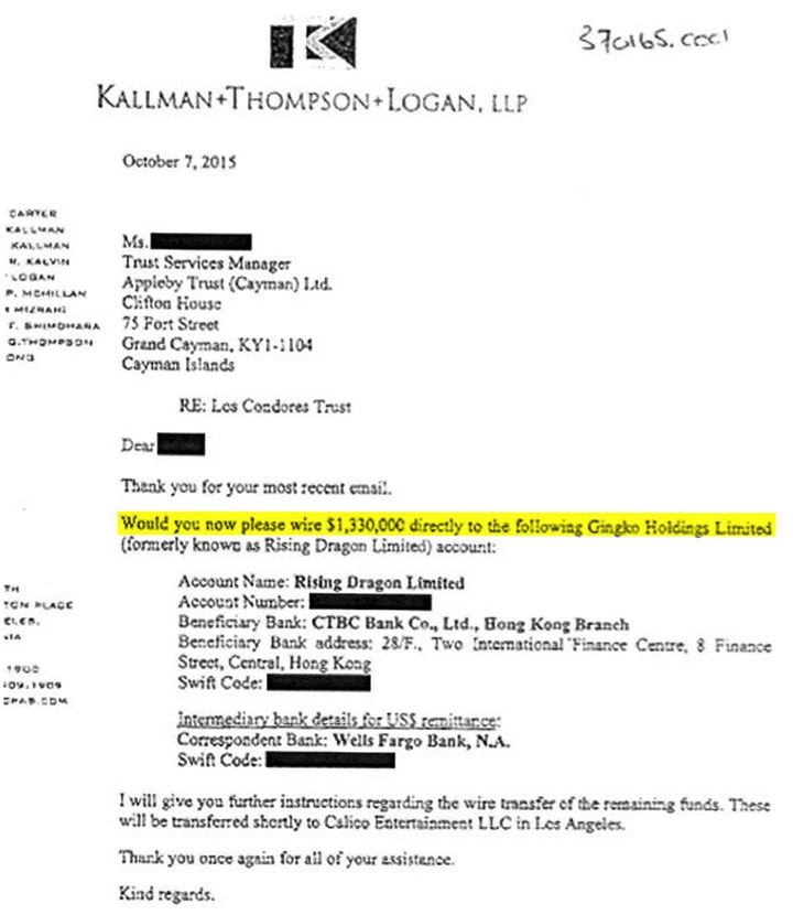 Demande de virement des sommes de Los Condores Trust aux îles Caïmans à Gingko Holdings Limited, basé à Hong-Kong. (DR)