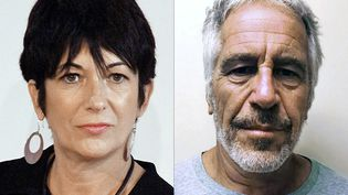 Ghislaine Maxwell, le 20 septembre 2013, à New York, et Jeffrey Epstein (photo non datée). (LAURA CAVANAUGH / NEW YORK STATE SEX OFFENDER REGISTRY / AFP)