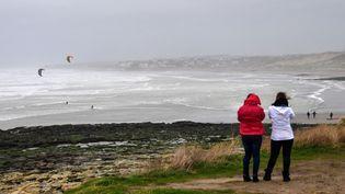 La plage de Wissant, sur la Côte d'Opale (Pas-de-Calais), lors d'une tempête, le 9 février 2020. (DENIS CHARLET / AFP)