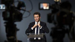 L'ancien porte-parole du gouvernement et ex-candidat aux élections municipales à Paris, Benjamin Griveaux, lors de son annonce de retrait de la campagne, le 14 février 2020 à Paris. (LIONEL BONAVENTURE / AFP)
