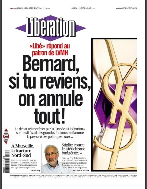La une du journal Libération daté du mardi 11 septembre. (LIBERATION / FTVI)