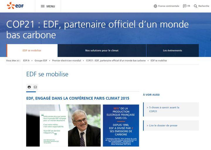 Capture d'écran du site d'EDF. La page montre la communication employée par ce sponsor de la conférence climat qui se déroule au Bourget. (EDF)