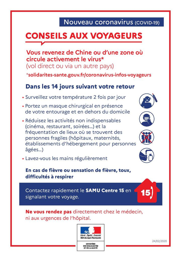 Une affiche distribuée aux voyageurs qui reviennent de Chine continentale, le 25 février 2020. (DIRECTION DE L'AVIATION CIVILE)