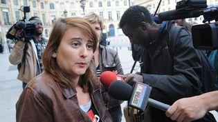 Celine Verzeletti, secrétaireconfédéralede la CGT, le 6 mai 2009 à Paris. (BORIS HORVAT / AFP)