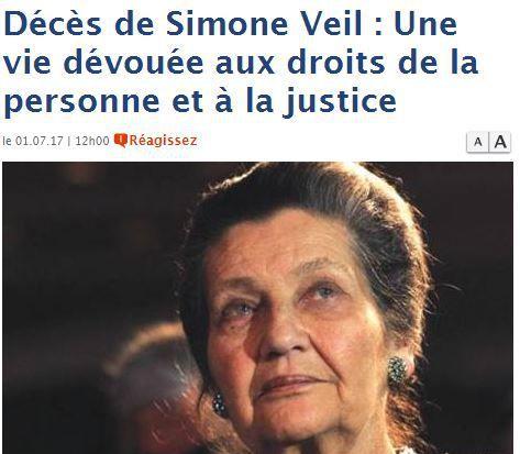 Titre d'«El Watan» sur Simone Veil, le 1er juillet 2017. (DR)