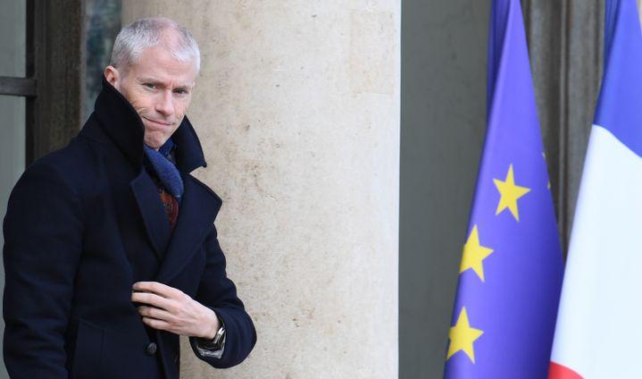 Le ministre de la Culture, Franck Riester, à la sortie de l'Elysée, le 12 février 2020. (ALAIN JOCARD / AFP)