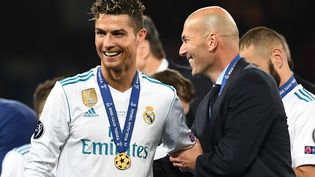 Le joueur portugais Cristiano Ronaldo, lors de la victoire de son club, le Real Madrid, en finale de la Ligue des Champions, le 26 mai2018 à Kiev (Ukraine). (FRANCK FIFE / AFP)