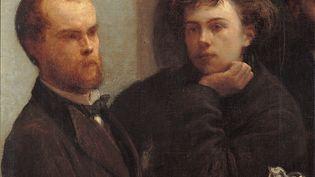 """Détail du tableau """"Coin de table"""" d'Henri Fantin Latour, avec Paul Verlaine (G) et Arthur Rimbaud (D). (Leemage via AFP)"""