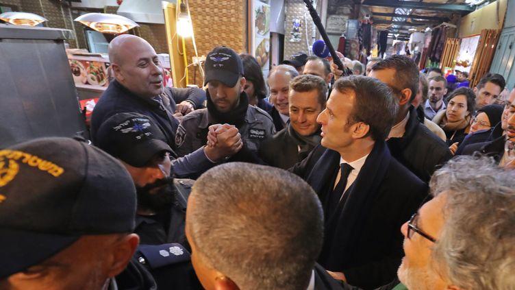 Emmanuel Macron dans la ville ville de Jérusalem, le 22 janvier 2020. (LUDOVIC MARIN / AFP)