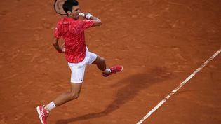 Novak Djokovic lors du tournoi de Romeen Italie, le 21 septembre 2020. (CLIVE BRUNSKILL / AFP)