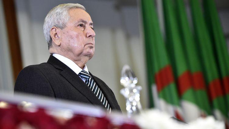 Le président du Conseil de la Nation,Abdelkader Bensalah, le 9 avril 2019 à Alger, lors de la session parlementaire quil'a désigné président de la République par intérim. (RYAD KRAMDI / AFP)