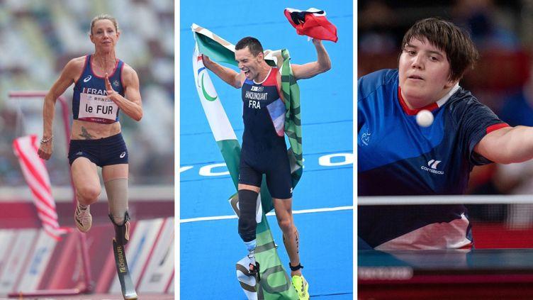 De gauche à droite : Marie-Amélie Le Fur, AlexisHanquinquant et Léa Ferney, lors de leurs épreuves des Jeux paralympiques de Tokyo, le 28 août 2021. (AFP)