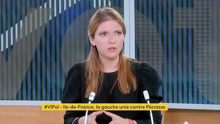 Aurore Bergé, co-présidente du groupe LREM à l'Assemblée nationale, était l'invitée de franceinfo canal 27, lundi 21 juin 2021. (FRANCEINFO)