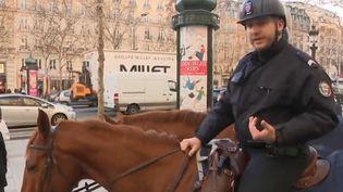 """Les policiers à cheval sont mobilisés tous les samedis, pour encadrer les manifestations des """"gilets jaunes"""". Une équipe de France 3 a suivi leur formation. (FRANCE 3)"""