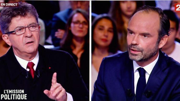 Jean-Luc Mélenchon, leader de La France insoumise et Edouard Philippe, Premier ministre dans l'Emission Politique sur France 2, le 28 septembre 2017. (MAXPPP)