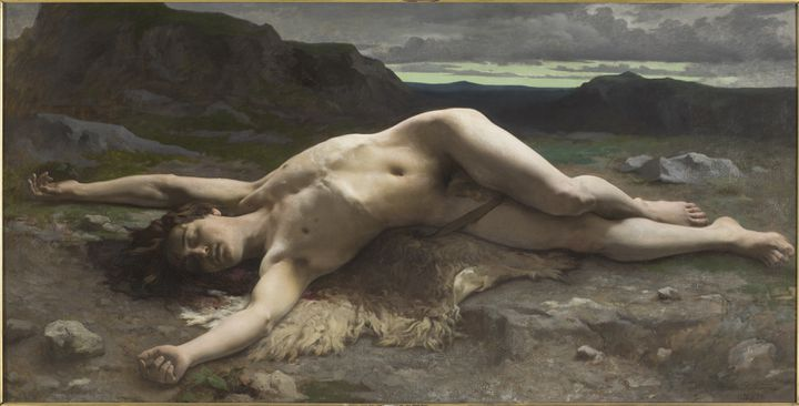 """Camille-Félix Bellanger (1853-1923). """"Abel"""", 1874-1875. Huile sur toile, 110 x 216 cm. Paris, musée d'Orsay. (MUSEE D'ORSAY, DIST. RMN / PATRICE SCHMIDT )"""