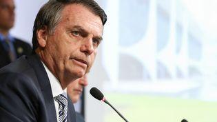 Le nouveau président du Brésil, Jair Bolsonaro, lors d'une réunion ministérielle à Brasilia, le 3 janvier 2019. (MARCOS CORREA / BRAZILIAN PRESIDENCY / AFP)