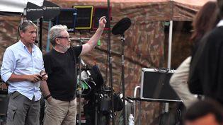 Ridley Scott (bras levé, tee-shirt noir) en tournage Rome le 5 juillet 2017  (Tziziana Fabi / AFP)