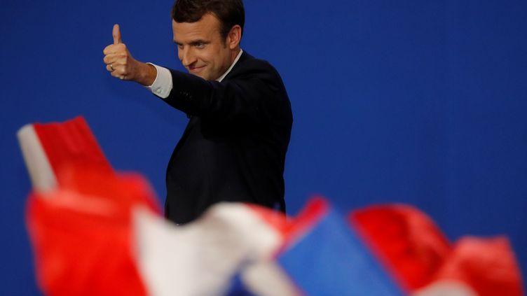 Emmanuel Macron, lors de son discours, au soir du premier tour de la présidentielle, le 23 avril 2017. (PHILIPPE WOJAZER / REUTERS)