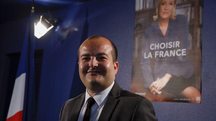 Le membre du bureau exécutif du RN et maire de Fréjus (Var), David Rachline,le 26 avril 2017, à Paris. (THOMAS SAMSON / AFP)