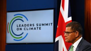 Le président britannique de la COP26, Alok Sharma, lors duSommet sur le climat, à Londres, le 22 avril 2021. (JUSTIN TALLIS / AFP)