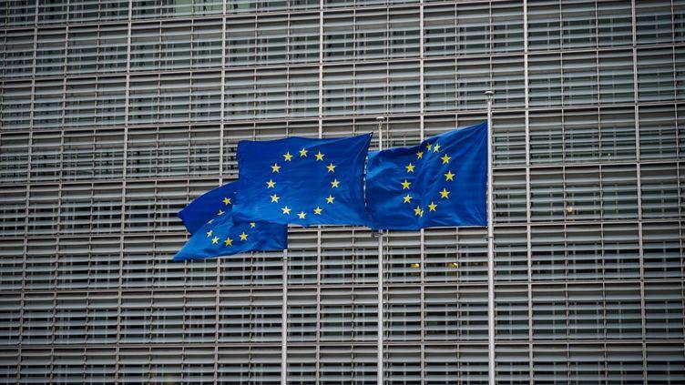 Des drapeaux de l'Union europeenne flottent devant le siège de la Commission europeenne a Bruxelles, le 26 decembre 2020. (LO?S DENIS / HANS LUCAS / AFP)