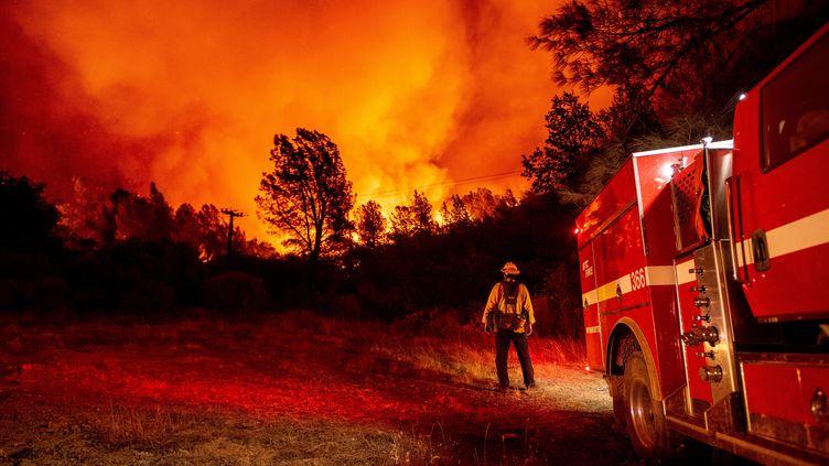 Un pompier du comté de Butte regarde les flammes, à Oroville (Californie), le 9 septembre 2020. (JOSH EDELSON / AFP)