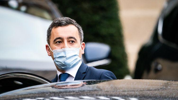 Gérald Darmanin à la sortie du conseil des ministres au Palais de l'Elysee, le 6 janvier 2021, à Paris. (XOSE BOUZAS / HANS LUCAS / AFP)