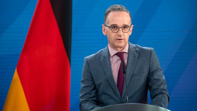 Le ministre allemand des Affaires étrangères, Heiko Maas, lors d'une déclaration à la presse, le 25 mai 2021 à Berlin (Allemagne). (BERND VON JUTRCZENKA / AFP)