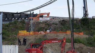 Le chantier de la SNCF près de la gare de Massy (Essonne) dans lequel un ingénieur est décédé dimanche 25 juillet 2021. (JPNVHB / MAXPPP)