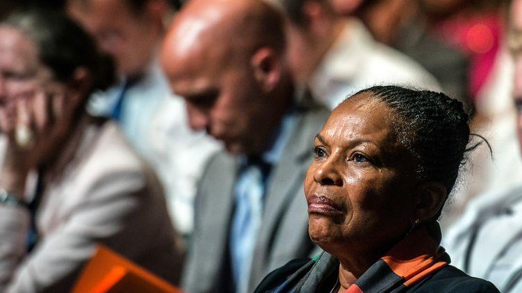 La ministre de la Justice, Christiane Taubira, participe à un meeting de campagne du Parti socialiste pour les élections européennes à Lyon (Rhône), le 23 mai 2014. (JEFF PACHOUD / AFP)