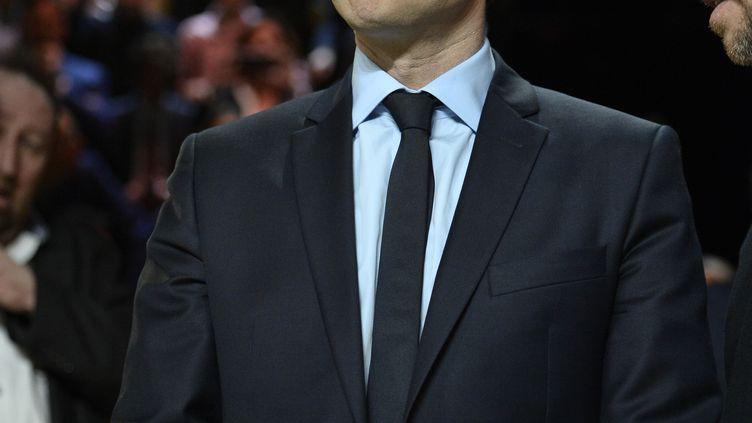 Emmanuel Macron, le 20 mars 2017, sur le plateau de TF1. (ELIOT BLONDET / AFP)