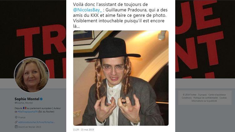 """L'eurodéputée Sophie Montel a diffusé, le 15 mai 2019, une photo de l'assistant parlementaire de Nicolas Bay """"déguisé"""" en juif. (TWITTER / SOPHIE MONTEL)"""