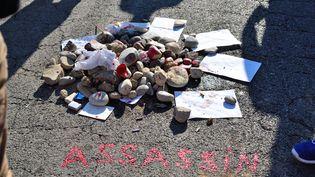 Un monticule d'ordures dressé, le 17 juillet 2016, sur l'emplacement de la promenade des Anglais où Mohamed Lahouaiej Bouhlel, auteur de l'attentat de Nice, a été tué par la police. (ERICK GARIN / AFP)